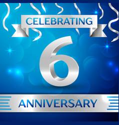 Six years anniversary celebration design confetti vector