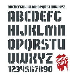 Stencil plate military font and numeral vector