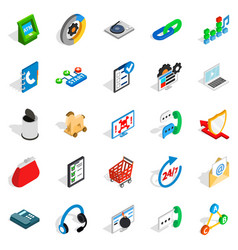 Support service icons set isometric style vector