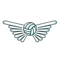 Volleyball balloon with wings isolated icon vector