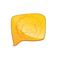 Yellow square chat bubble with lion animal inside vector