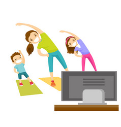 Young mother and her kids doing gymnastics at home vector