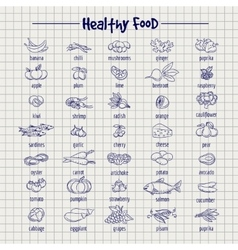 Healthy food set on notebook page vector