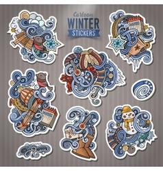 Set of winter season doodle cartoon stickers vector