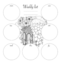 Weekly list design for notepad isolated on white vector
