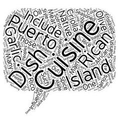 Puerto Rican Cuisine text background wordcloud vector image