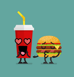 Fast food fall in love vector