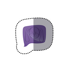 color sticker with dog face in square speech vector image