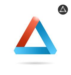 Delta letter logo in ribbon style vector
