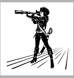 pirate girl with a telescope vector image
