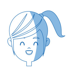 Happy face girl character people young vector