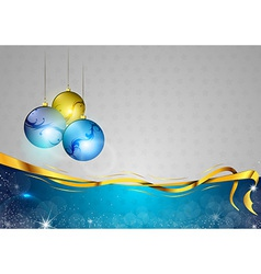 Christmas background two color blue balls vector