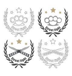 2 crossed knifes brass knuckle emblems line-art vector