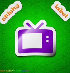 Retro TV mode icon sign Symbol chic colored sticky vector image