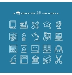 Set of lines education icons vector