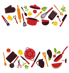 Kitchen tools background isolated vector