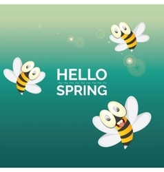Hello spring  cartoon cute bright baby bee icon vector