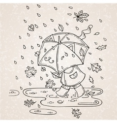 Cute kid with umbrella in vector