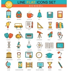 School flat line icon set modern elegant vector