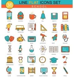 School flat line icon set Modern elegant vector image
