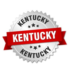 Kentucky round silver badge with red ribbon vector