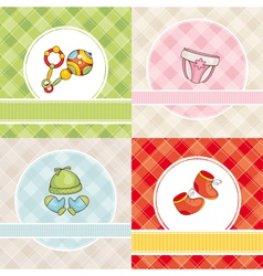 Abstract set of cute baby cards vector