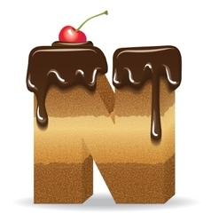Cake letter N- birthday font vector image