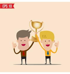 Cartoon business man hold winner cup - - EPS vector image vector image
