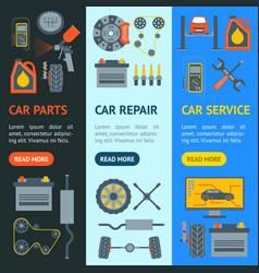 cartoon car service banner vecrtical set vector image vector image
