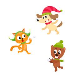 cat dog and bear characters playing snowballs vector image vector image