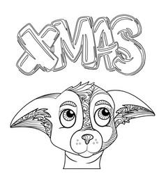christmas lettering christmas hand drawn vector image vector image