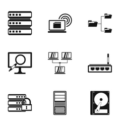 Computer data icons set simple style vector