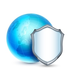Earth and Shield Icon vector image vector image
