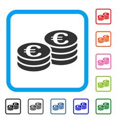 Euro coin stacks framed icon vector