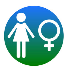 Female sign white icon in vector