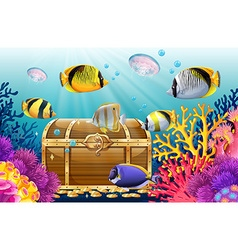 Fish and jellyfish in the sea vector image vector image