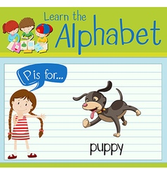 Flashcard letter P is for puppy vector image
