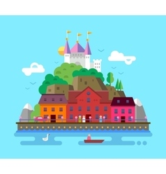 Flat design of summer European vector image