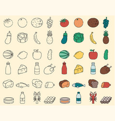 food and drink thin line icons fruits and vector image