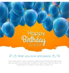 Happy birthday card with blue balloons vector