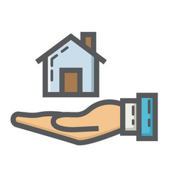 Home in hand filled outline icon business finance vector