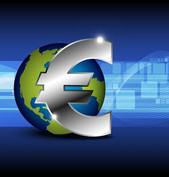 icon euro money with globe vector image vector image