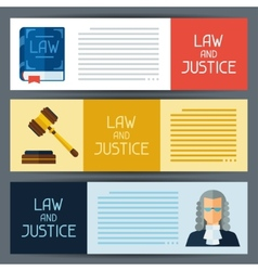 Law and justice horizontal banners in flat design vector