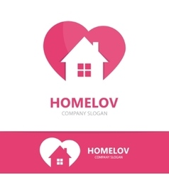 Logo combination of a heart and house vector