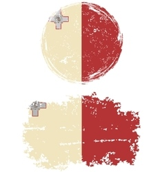 Maltese round and square grunge flags vector