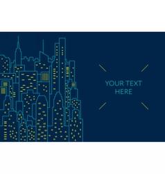 Night cityscape flat line vector image