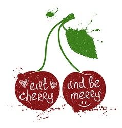 Of Isolated Cherry Silhouette vector image