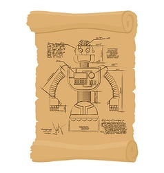 Old Drawing of robot on scroll Design of vector image