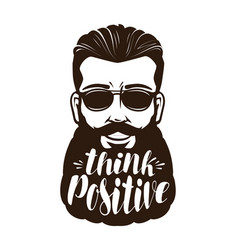 portrait of happy bearded man or hipster think vector image vector image