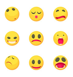 sad smile face icons set cartoon style vector image